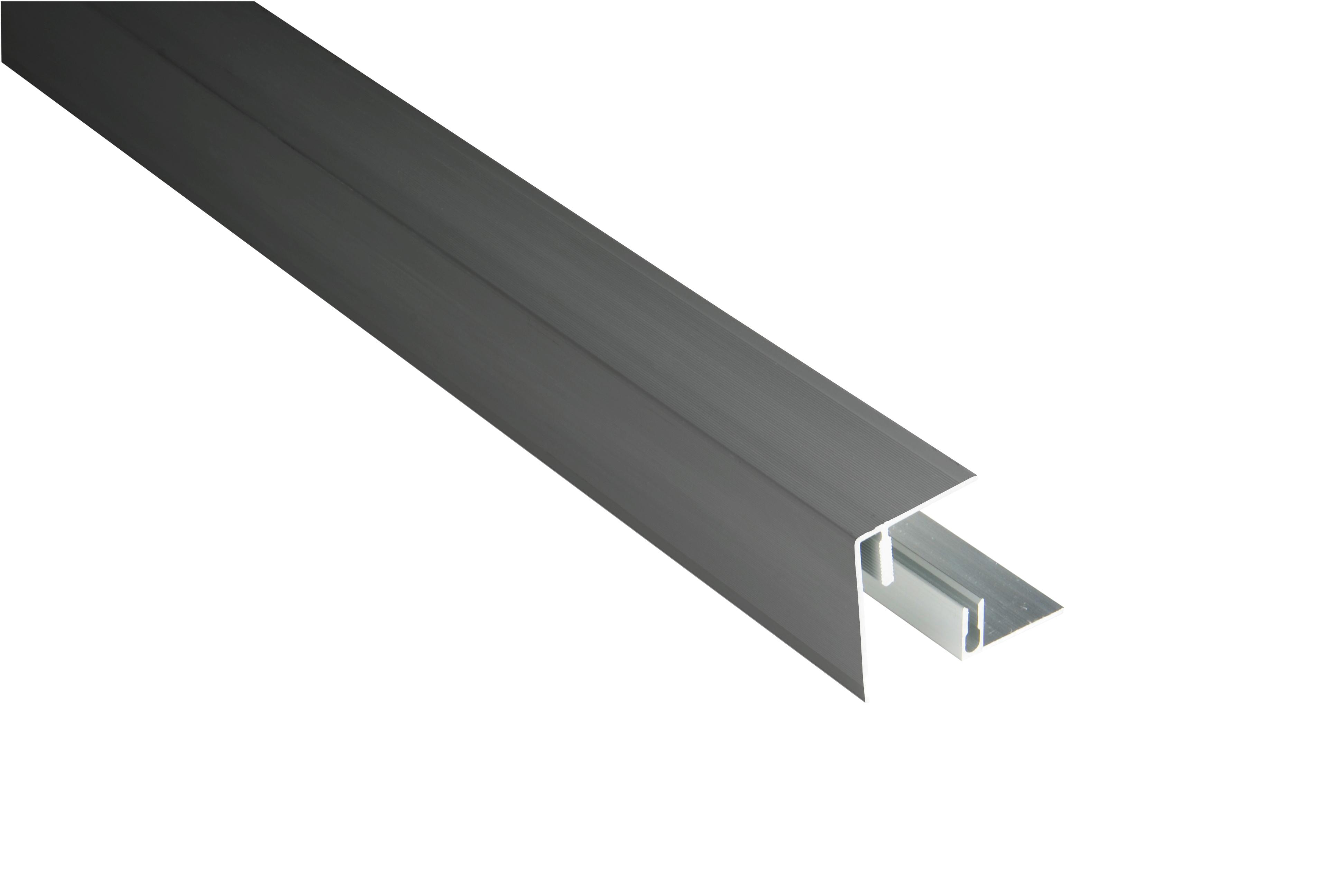 Kovalex Aluminium Seitenabschluss mit Befestigungsprofil - Farbe: Anthrazit - Abmessung: 45x59x2.500 mm