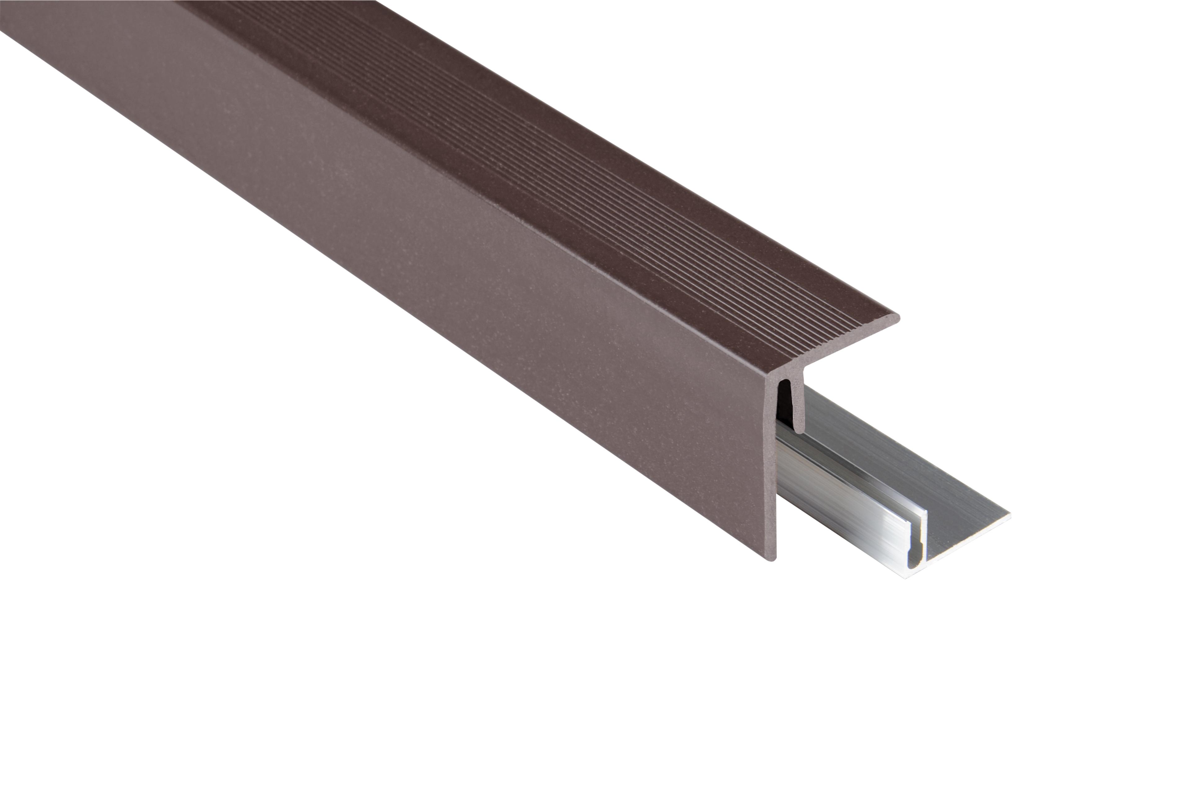 Kovalex WPC Seitenabschluss inkl. Befestigungsprofil - Farbe: Schokobraun unbehandelt - Abmessung: 47x62x2.500 mm - Nur für Terrassendielen mit einer Stärke von 26 mm geeignet