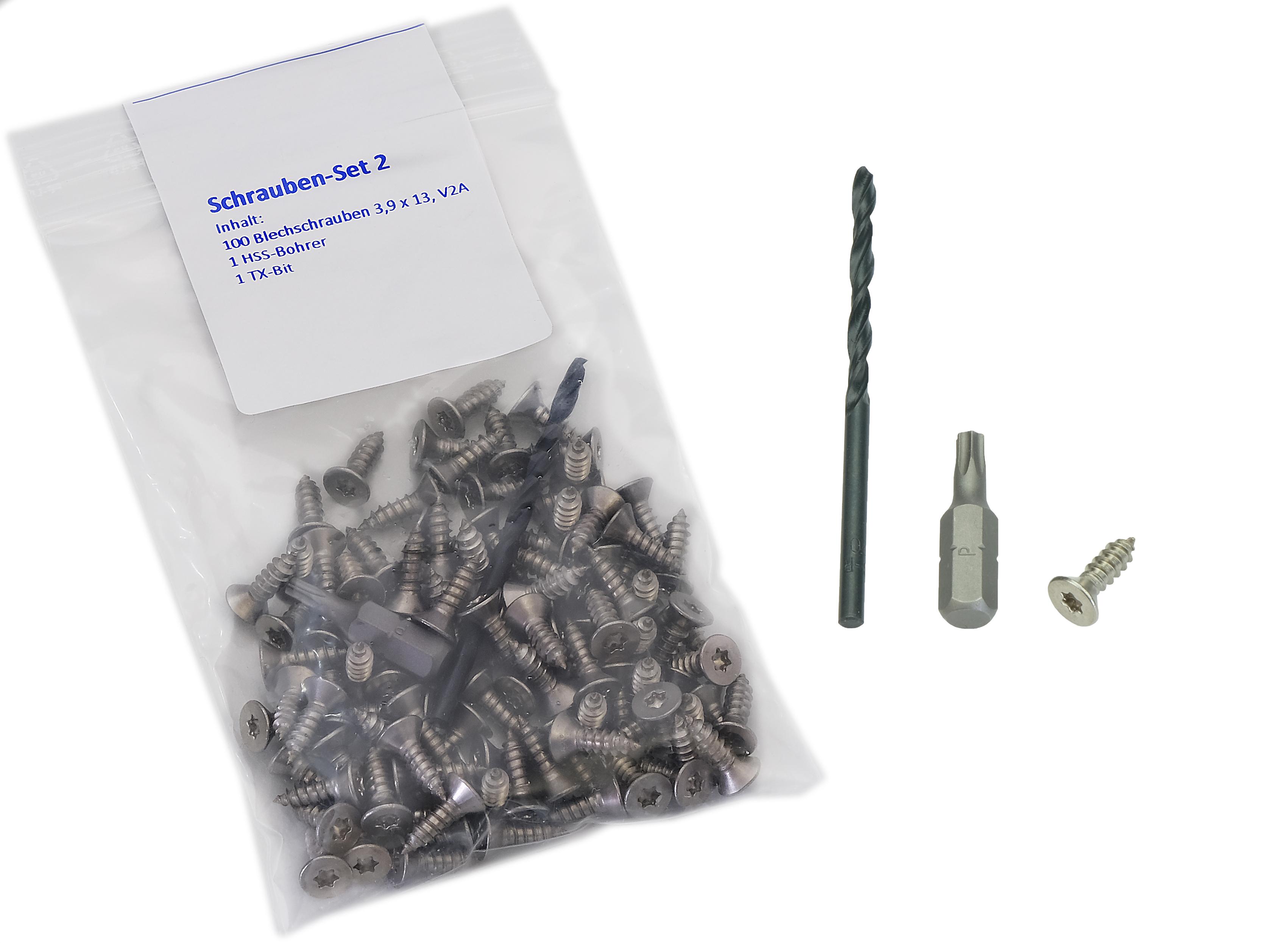 Kovalex Schrauben Set 2 - Zur Befestigung der Abschlussprofile auf Aluminium-Unterkonstruktion - Inhalt: 100 Stück Blechschrauben Senkkopf 3,9 x 13 mm V2A Edelstahl inkl. HSS Bohrer und Bit T20