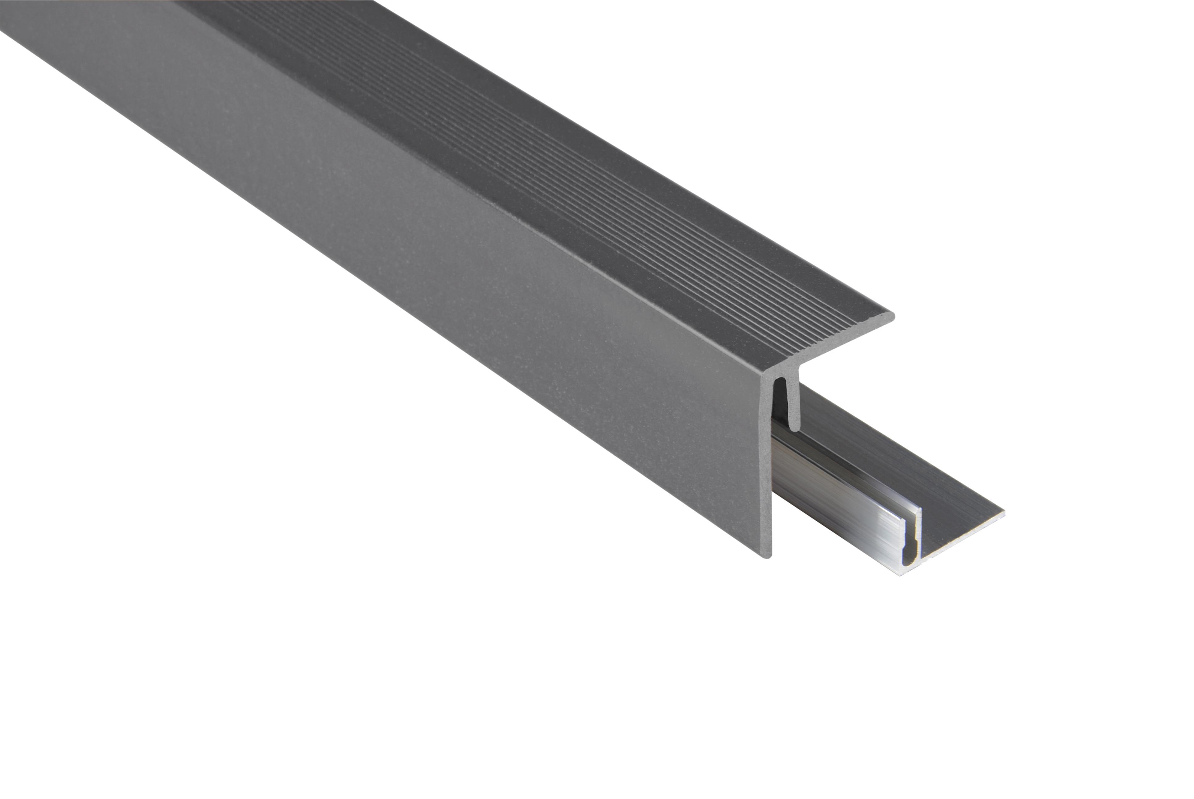 Kovalex WPC Seitenabschluss inkl. Befestigungsprofil - Farbe: Steingrau unbehandelt - Abmessung: 47x62x2.500 mm - Nur für Terrassendielen mit einer Stärke von 26 mm geeignet