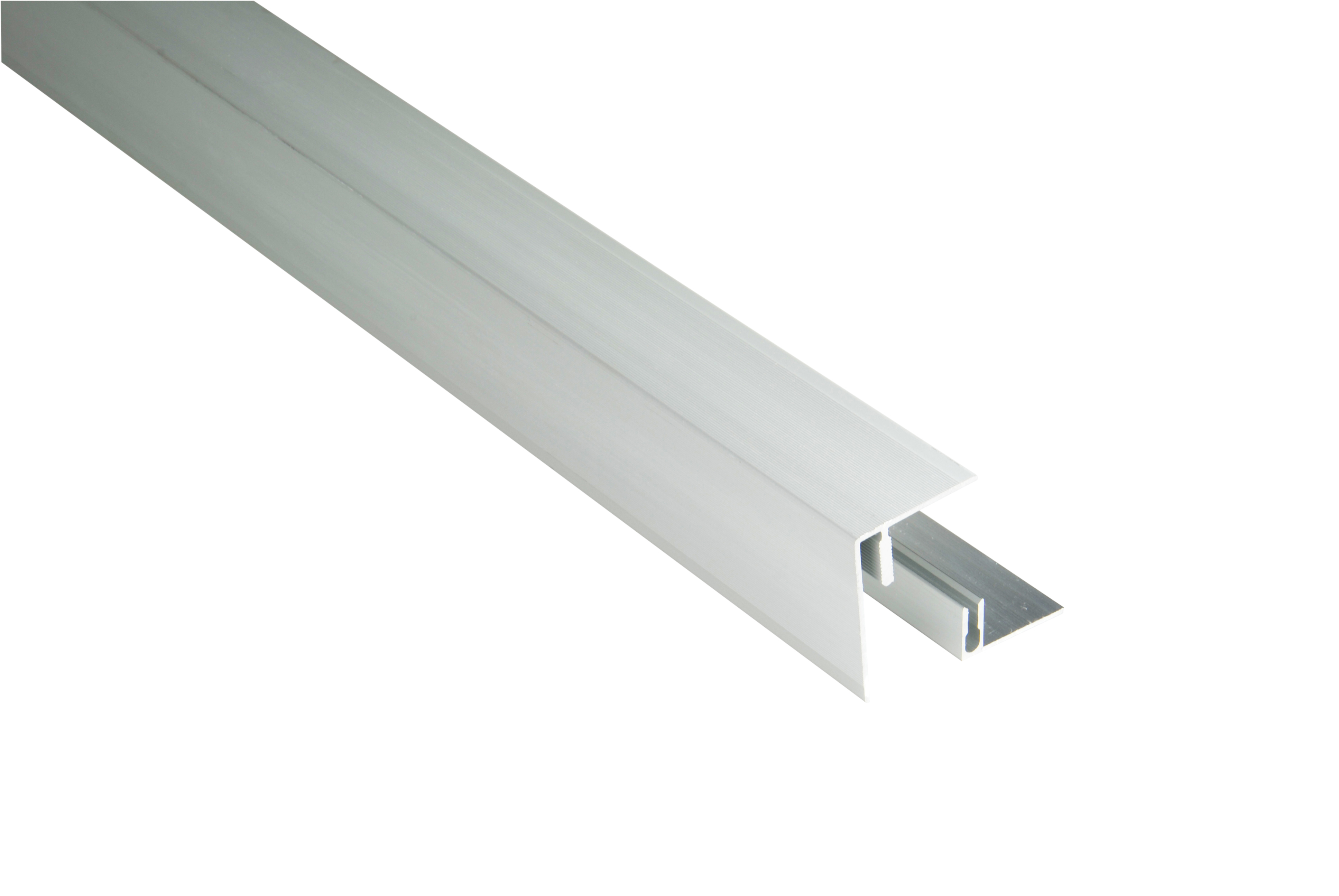 Kovalex Aluminium Seitenabschluss mit Befestigungsprofil - Farbe: Alu-Silber - Abmessung: 45x59x2.500 mm