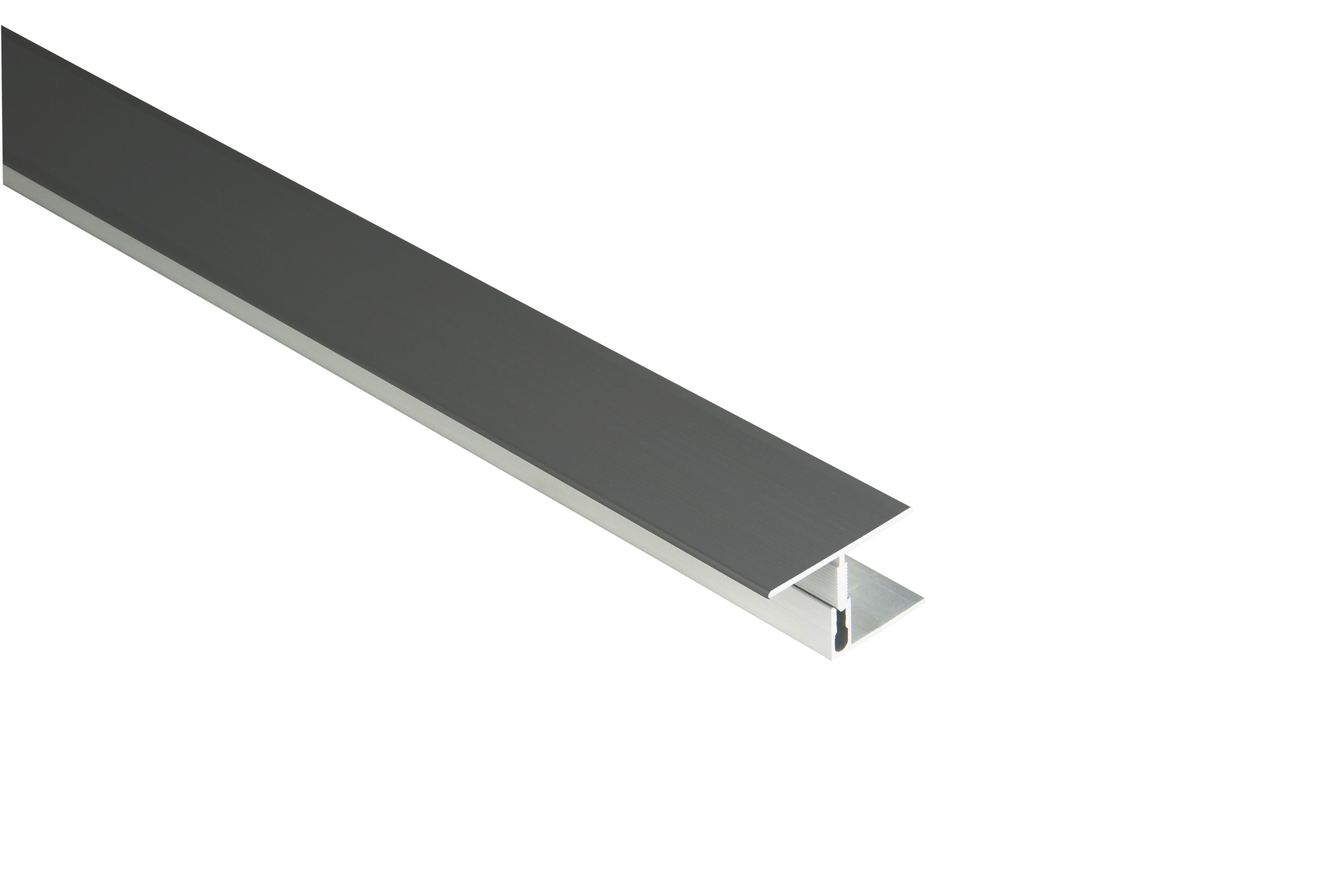 Kovalex Aluminium Übergangsprofil mit Befestigungsprofil - Farbe: Anthrazit - Abmessung: 60x23x2.500 mm
