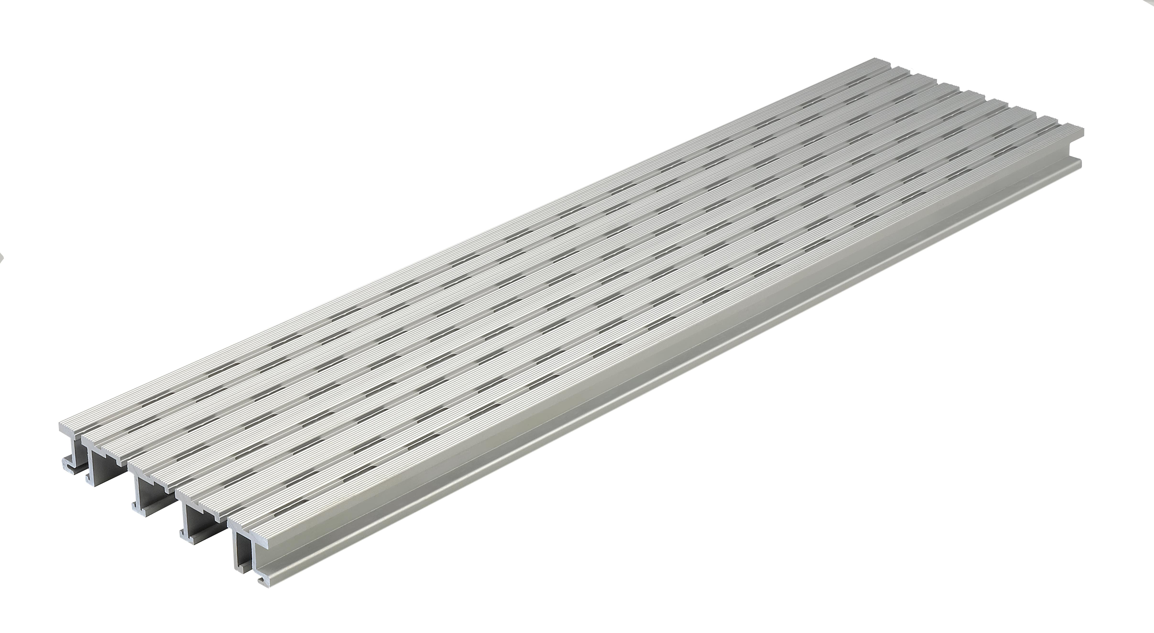 Kovalex Belüftungs-/Entwässerungsprofil Aluminium für 26 mm WPC-Dielen - 26x150x1000 mm - Aluminium Silber