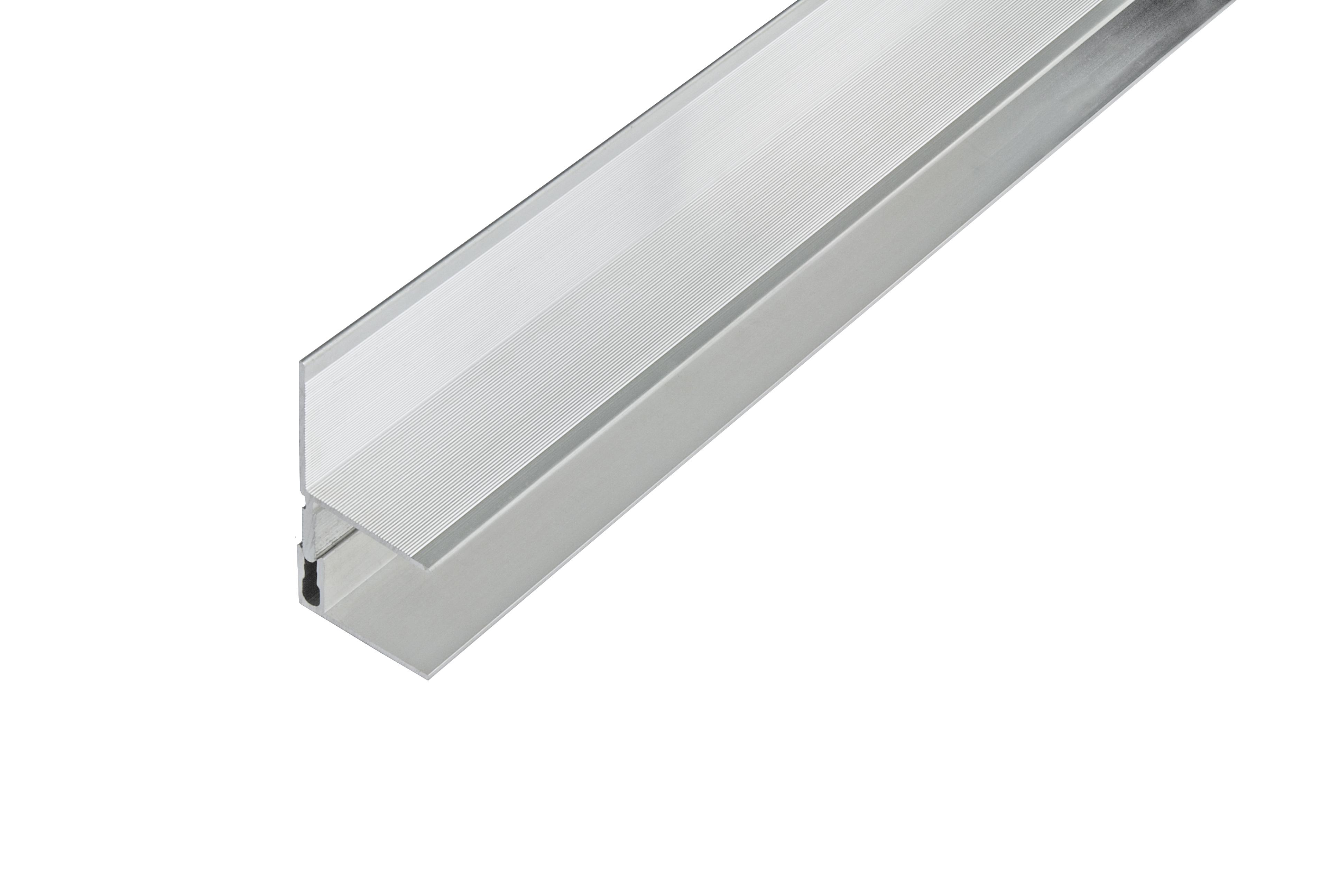 Kovalex Aluminium Wandabschluss mit Befestigungsprofil - Farbe: Alu-Silber - Abmessung: 40x60x2.500 mm