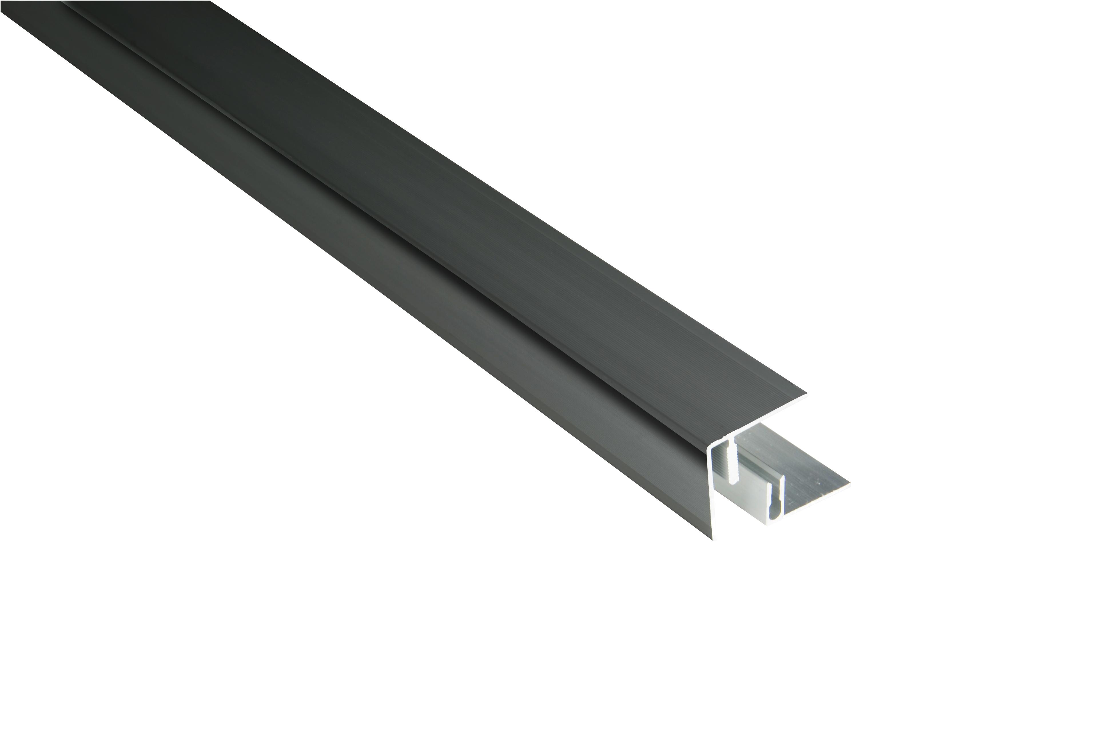 Kovalex Aluminium Seitenabschluss mit Befestigungsprofil - Farbe: Anthrazit - Abmessung: 45x41x2.500 mm