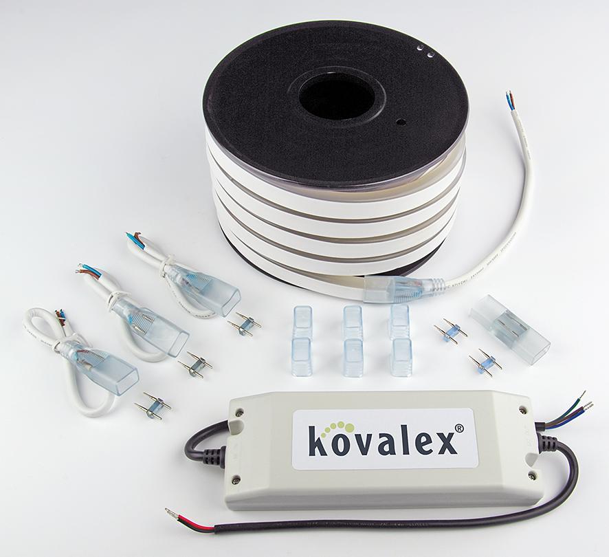Kovalex LED Licht-Set 10 m - Inhalt: 10m LED-Band, (Trafo IP67), 4 Einspeisungen, 6 Endkappen, 1 Längsverbinder
