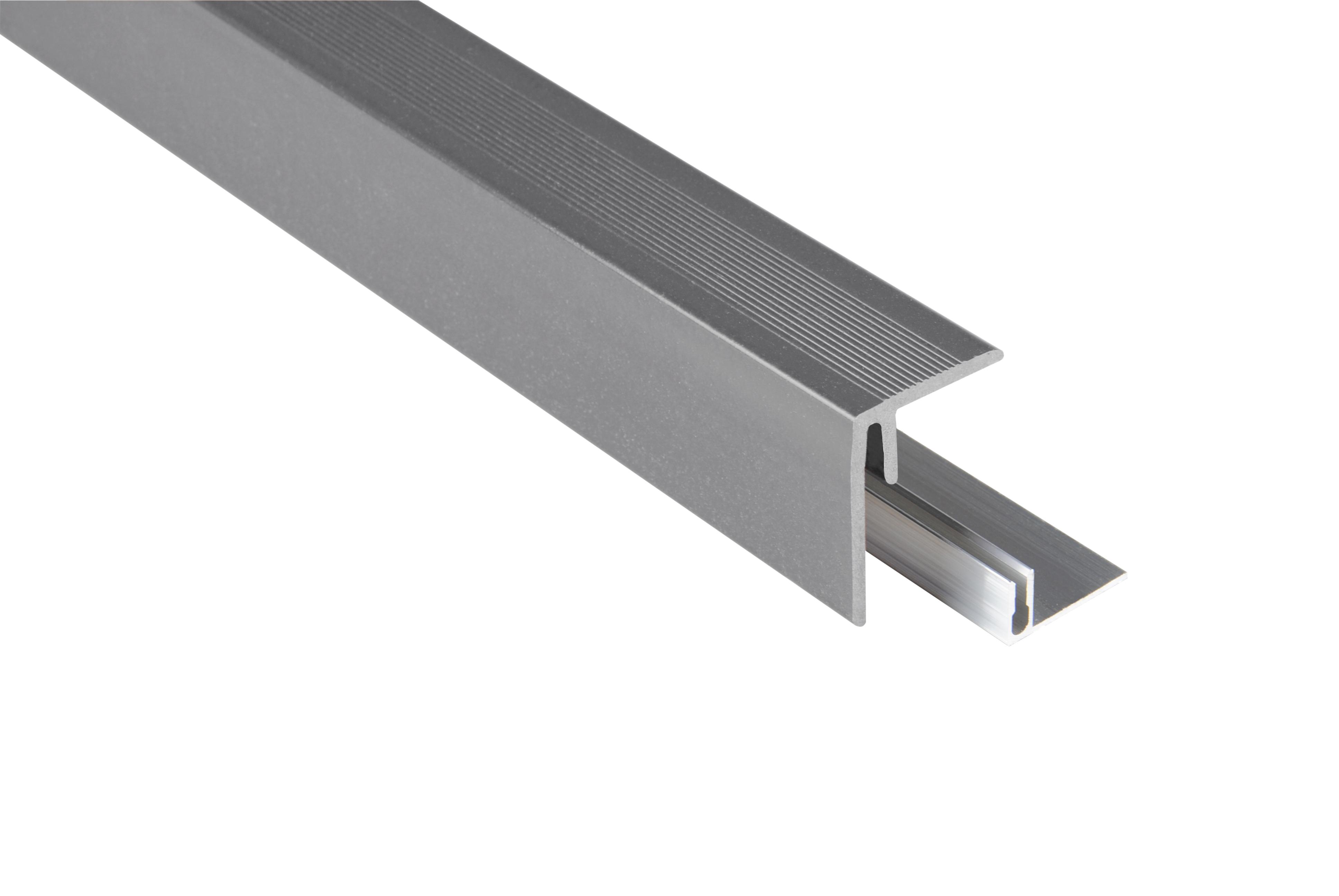 Kovalex WPC Seitenabschluss inkl. Befestigungsprofil - Farbe: Grau unbehandelt - Abmessung: 47x62x2.500 mm - Nur für Terrassendielen mit einer Stärke von 26 mm geeignet
