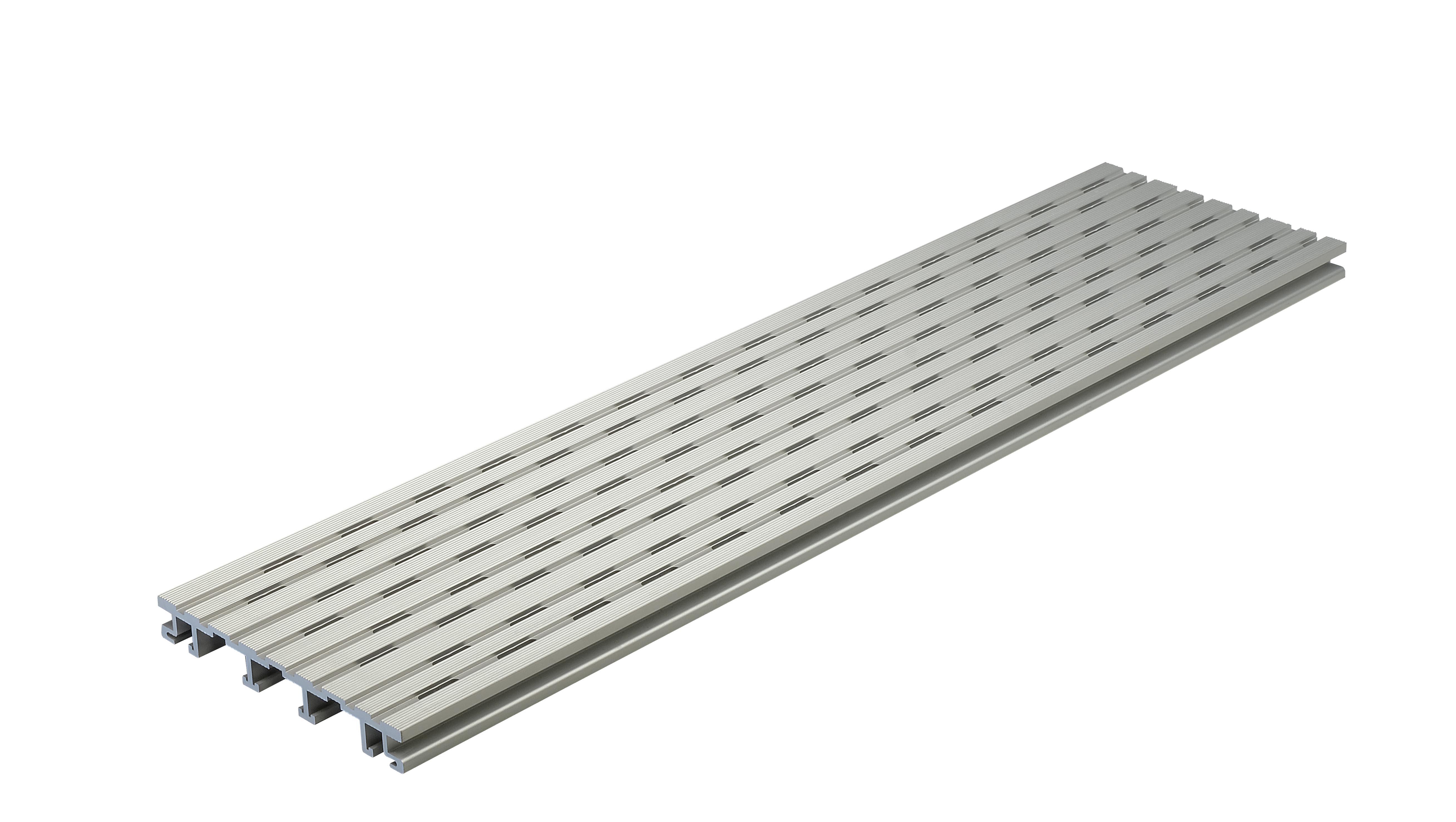 Kovalex Belüftungs-/Entwässerungsprofil Aluminium für 20 mm WPC-Dielen - 20x150x1000 mm - Aluminium Silber